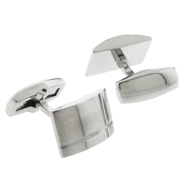Stainless Steel Silvertone Satin Finish Cuff Links
