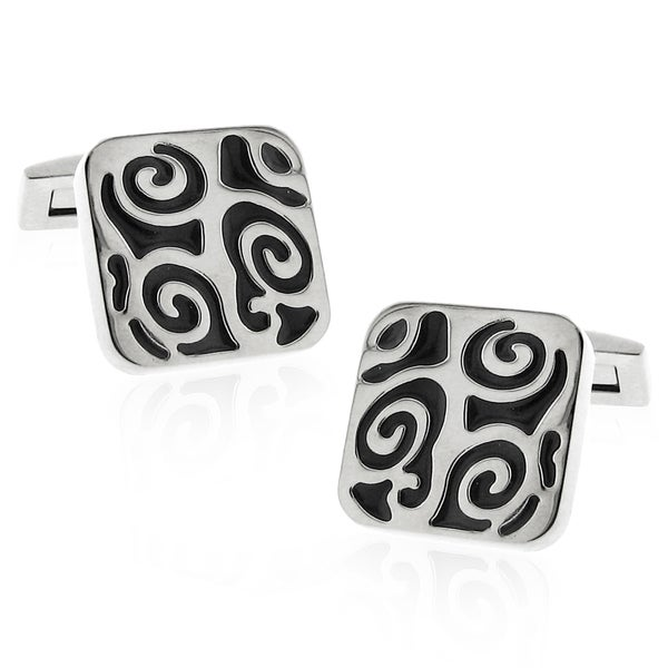 Stainless Steel Silvertone High Shine Carbon Fiber Tribal Inlay Cuff Links