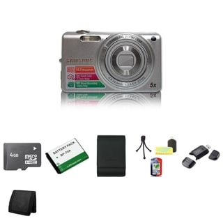 Samsung ST68 16.1MP Silver Digital Camera 4GB Bundle