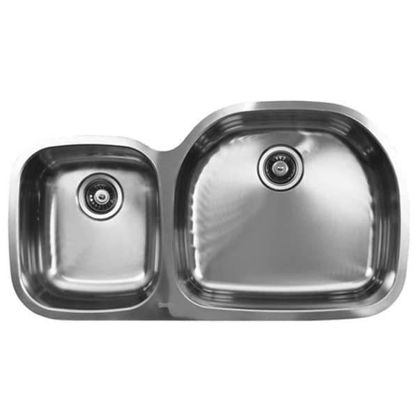 Ukinox D537.60.40.8R 60/40 Double Basin Stainless Steel Undermount Kitchen Sink