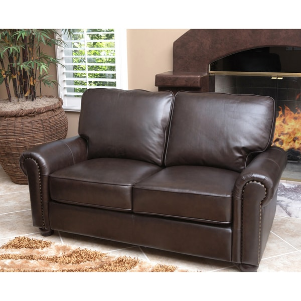 Abbyson Living London Dark Brown Leather Loveseat Free Shipping Today 15337980