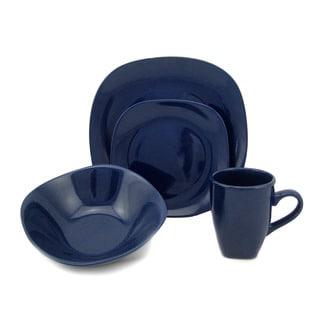 Lorren Home Trend 'Blue' 16-piece Square Stoneware Dinnerware Set