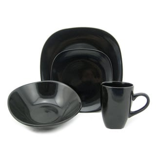 Lorren Home Trend 'Black' 16-piece Square Stoneware Dinnerware Set