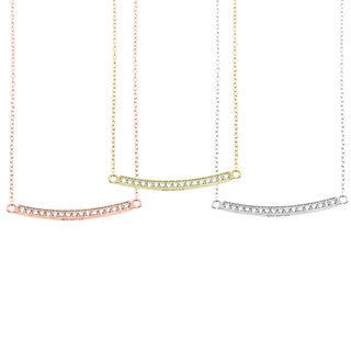 Eternally Haute Sterling Silver Cubic Zirconia Pave Bar Necklace