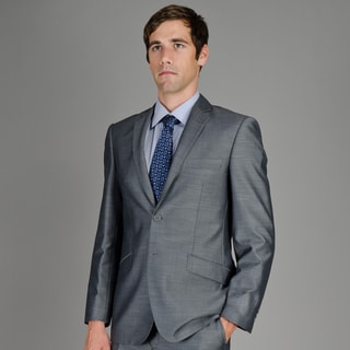 Men's Slim Fit Grey Sharkskin 2-Button Suit