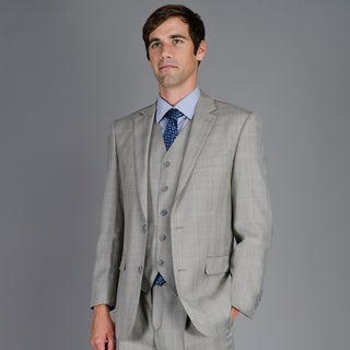 Men's Grey Plaid 3-Piece Suit