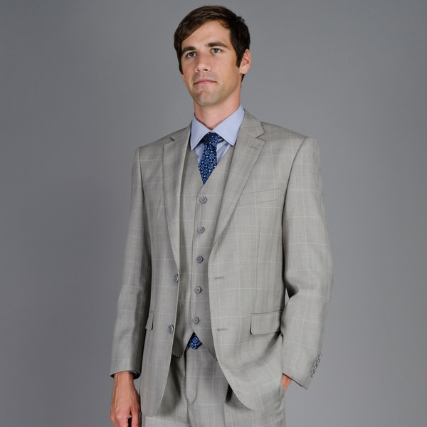 Men's Grey Plaid 3-Piece Suit - Free Shipping Today - Overstock ...