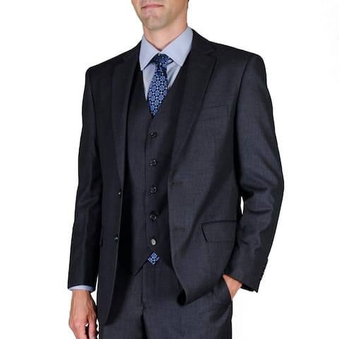 Men's Solid Charcoal Wool-blend 2-button Vested Suit