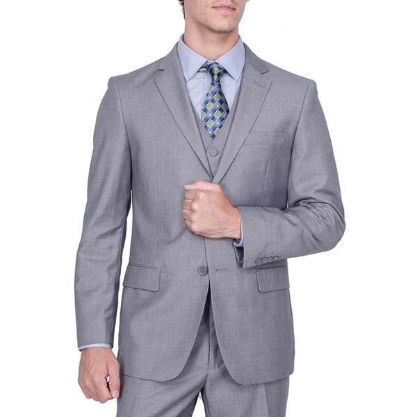 Men's Solid Grey Viscose-blend 2-Button Vested Suit