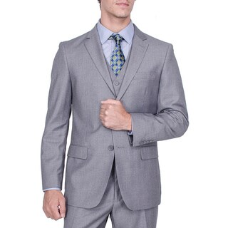 Men's Solid Grey Viscose-blend 2-Button Vested Suit
