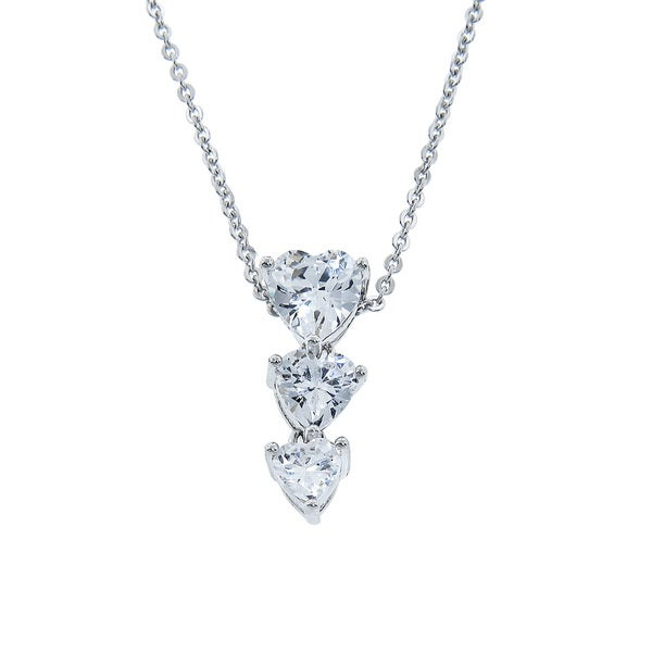 Eternally Haute Silver-plated Cubic Zirconia Heart Drop Necklace