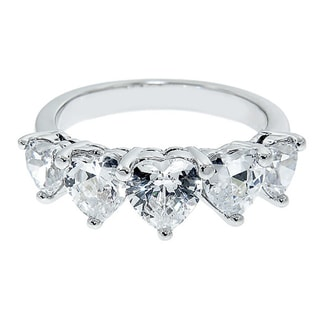 Eternally Haute Silver-plated Cubic Zirconia Heart Ring