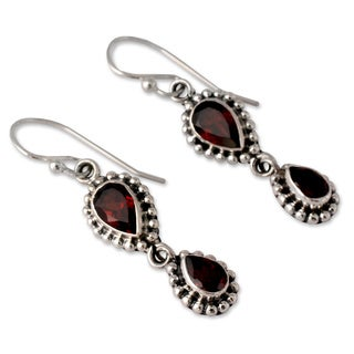 Handmade Sterling Silver Love Song Red Garnet Dangling Earrings (India)