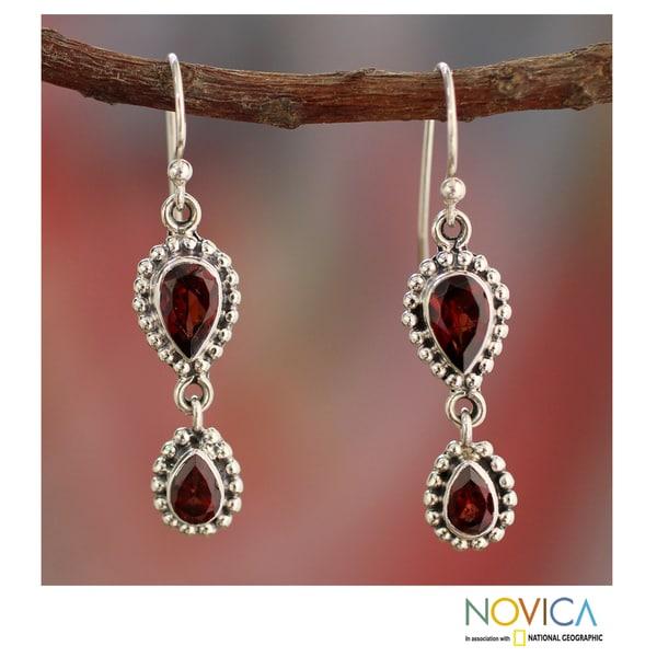 Handamde Sterling Silver Love Song Red Garnet Dangling Earrings (India)