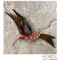 Handmade Iron 'Ruby Breasted Hummingbird' Wall Sculpture (Mexico)
