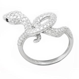 De Buman Sterling Silver Diamond and Black CZ Snake Ring