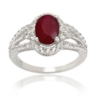 De Buman Sterling Silver Ruby and White Topaz Ring (4 options available)