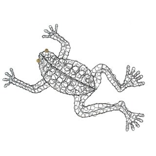 Hand-woven Wire Frog Decorative Figurine, Handmade in Indonesia