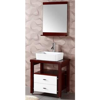 Wood Top Single Vessel Sink/ Bathroom Vanity with Matching Mirror