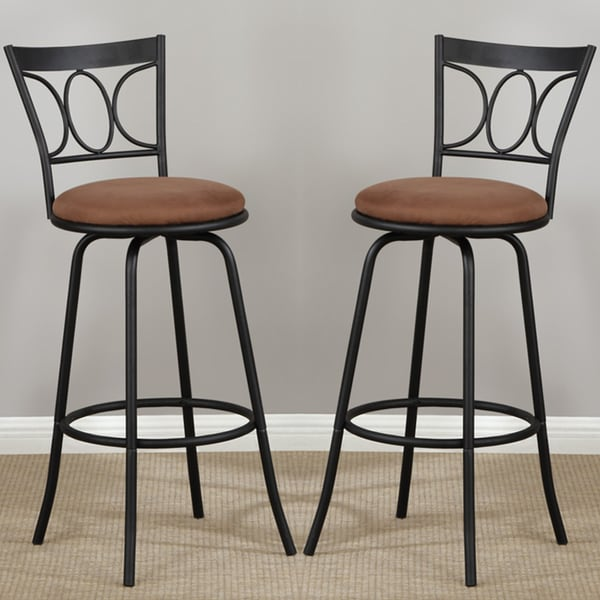 Oval Back Adjustable Metal Swivel Counter Height Bar Stools (Set of 2 ...