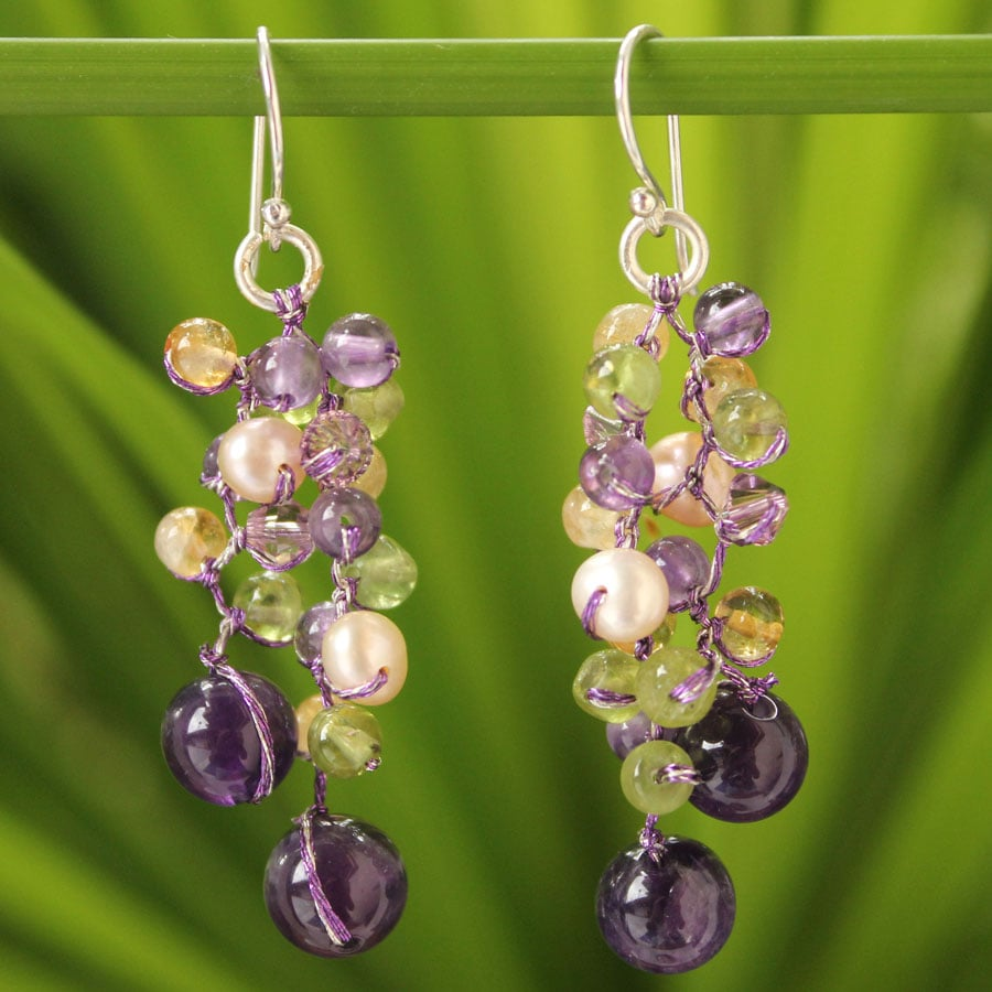 Handmade Multi-gemstone 'Passion' Pearl Earrings (4 mm) (Thailand)