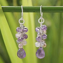 Handmade Sterling Silver 'Purple Pink Glam' Amethyst Earrings (Thailand)