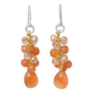 Link to Handmade Sterling Silver Orange Glam Carnelian Earrings (Thailand) Similar Items in Earrings