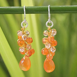 Handmade Sterling Silver 'Orange Glam' Carnelian Earrings (Thailand)