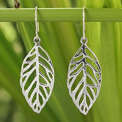 Handmade Sterling Silver 'New Leaf' Earrings (Thailand)