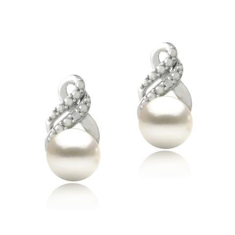 Glitzy Rocks Silver Freshwater Pearl and Diamond Accent Swirl Infinity Earrings