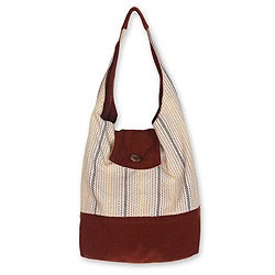 Cotton 'Joyful Coppery Brown' Medium Shoulder Bag (Thailand)