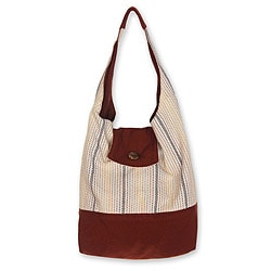 Handmade Cotton 'Joyful Coppery Brown' Medium Shoulder Bag (Thailand)