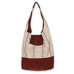 Handmade Cotton 'Joyful Coppery Brown' Medium Shoulder Bag (Thailand)