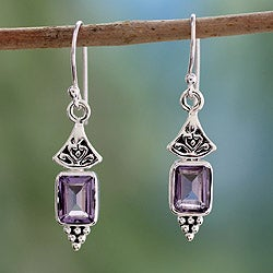 Handmade Sterling Silver Lilac Lantern Purple Amethyst Dangling Earrings (India)