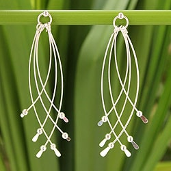 Handcrafted Sterling Silver 'Early Rain' Earrings (Thailand)
