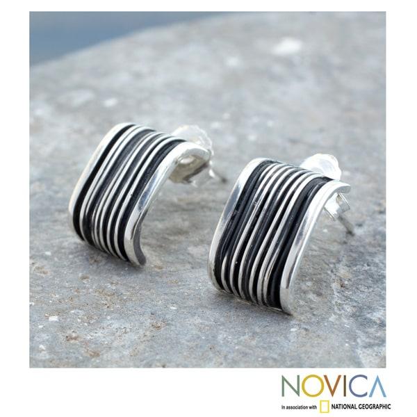 Handmade Sterling Silver 'Urban Taxco' Earrings (Mexico)
