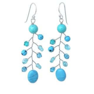 Handcrafted Sterling Silver 'Thai Skies' Apatite Earrings (Thailand)