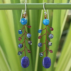 Handmade Sterling Silver 'Thai Seas' Lapis Lazuli Earrings (Thailand)