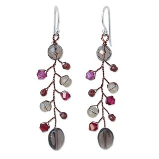 Handmade Sterling Silver 'Thai Mist' Smokey Quartz Garnet Earrings (Thailand)