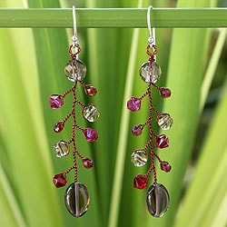 Sterling Silver 'Thai Mist' Smokey Quartz Garnet Earrings (Thailand)