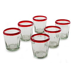 Set of 6 Handcrafted Blown Glass 'Ruby Groove' Glasses (Mexico)