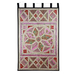 Wall Hanging Cotton 'Gujrati Lotus' Beaded Wall Hanging , Handmade in India