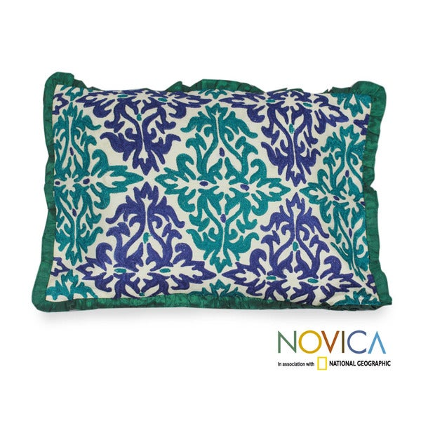 Handmade Polyester 'Cool Flames' Embroidered Cushion Cover (India)