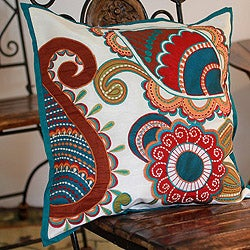 Handcrafted Polyester 'Paisley Garden' Applique Cushion Cover  , Handmade in India