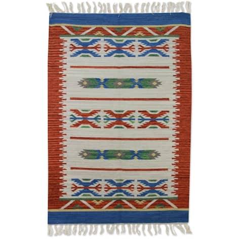 Handmade Geometric Revelation Wool Rug (India) - 4' x 6'