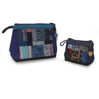 Handmade Set of 2 Cotton and Hemp 'Ethnic Blue' Cosmetic Bags (Thailand)