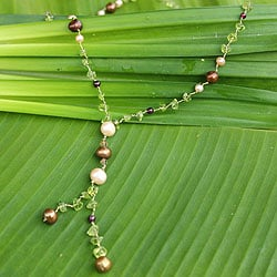 Handmade Multi-gemstone 'Nature's Melody' Pearl Necklace (4, 7.5 mm) (Thailand)