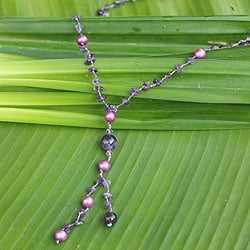 Handmade Amethyst 'Nature's Melody' Pearl Necklace (7 mm) (Thailand)