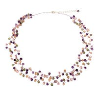 Handmade Multi-gemstone 'Mystic Passion' Pearl Necklace (3.5-4 mm) (Thailand)