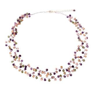 Handmade Multi-gemstone 'Mystic Passion' Pearl Necklace (3.5-4 mm) (Thailand)